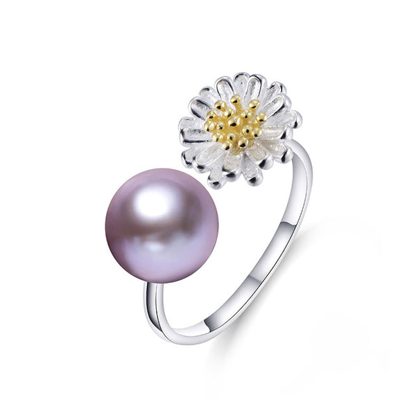 Natural Pearl Ring with Sterling Silver Ring 1087