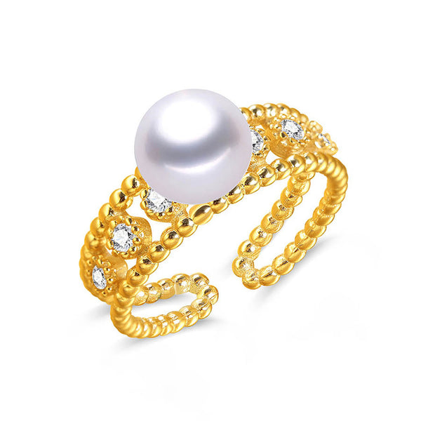 Gold Sterling Silver Ring with Natural Freshwater Pearl 1079