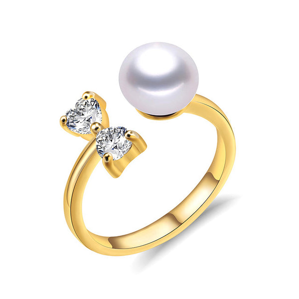 Sterling Silver ring with High Quality Natural Freshwater Pearl 1137