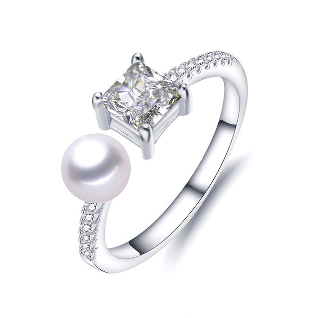 Elegant Sterling Silver Ring with Pearl 1073
