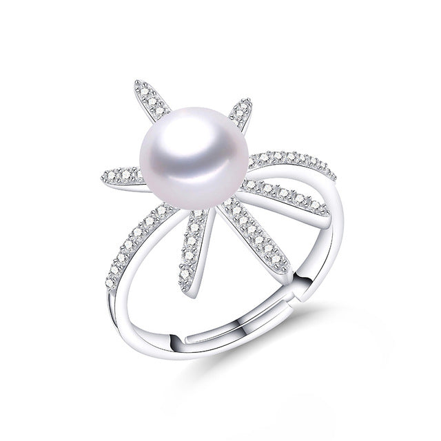 Flower Freshwater Pearl on Sterling Silver Ring 1076