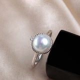 High Sterling Silver Ring with Natural Pearl 1083