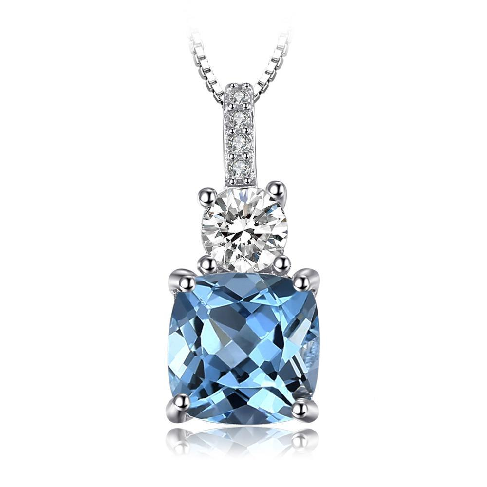 2.2ct Blue Topaz Pendant on Sterling Silver with 45cm Box Chain 1219