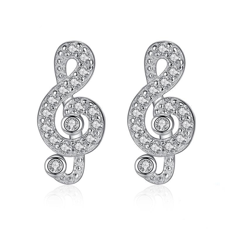 Musical noted Sterling Silver stud Earrings 1383