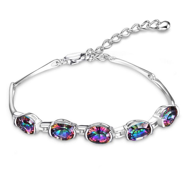 Sterling Silver with 6ct Concave Oval Genuine Mystical Rainbow Topaz Bracelet 1181