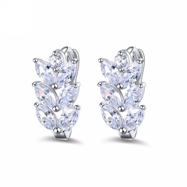 Silver Leaf Marquise Cut Clear Zircon Earrings 1397