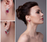 Sterling Silver with 12.1ct Created Red Ruby Clip On Earrings 1157