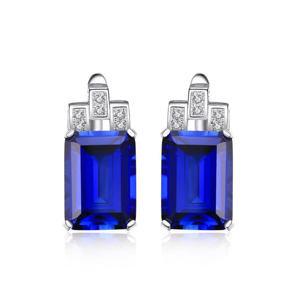 Sterling Silver Earrings with 12.1ct Created Blue Sapphire 1132
