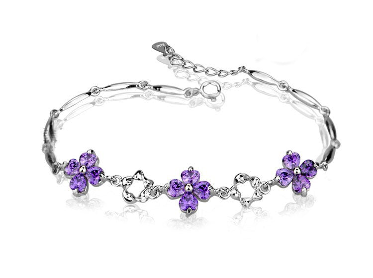 Beautiful flower Sterling Silver Clover Crystal Bracelet 1036