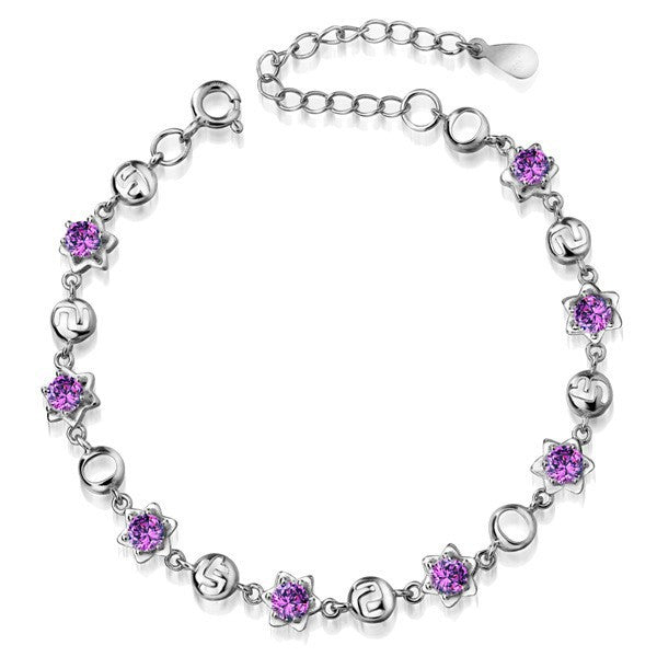 Sterling Silver with beautiful Stone Crystal Bracelet 1182