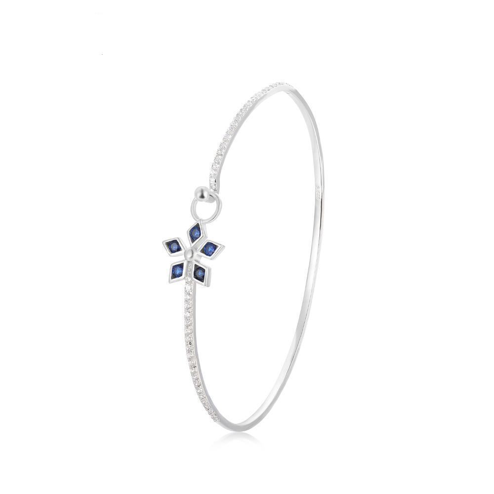 Sterling Silver with 1.1 ct Created Blue Spinel Flower bracelets Bangles 1145