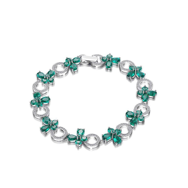 Sterling Silver with 6.8ct Created Emerald Link Tennis Bracelet 1177