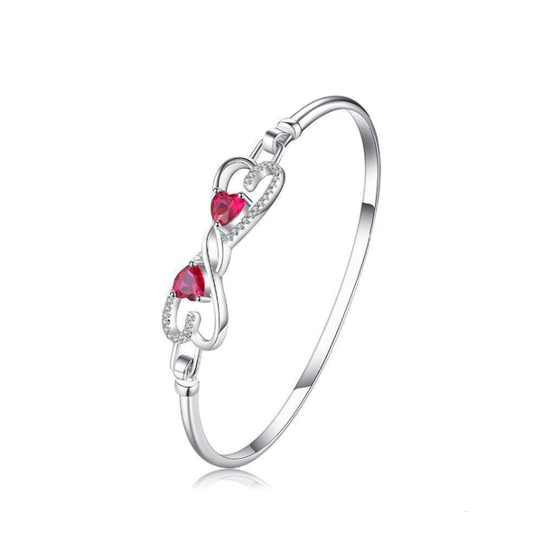 Sterling Silver with 1.6ct Created Red Ruby Bangle Bracelet 1154