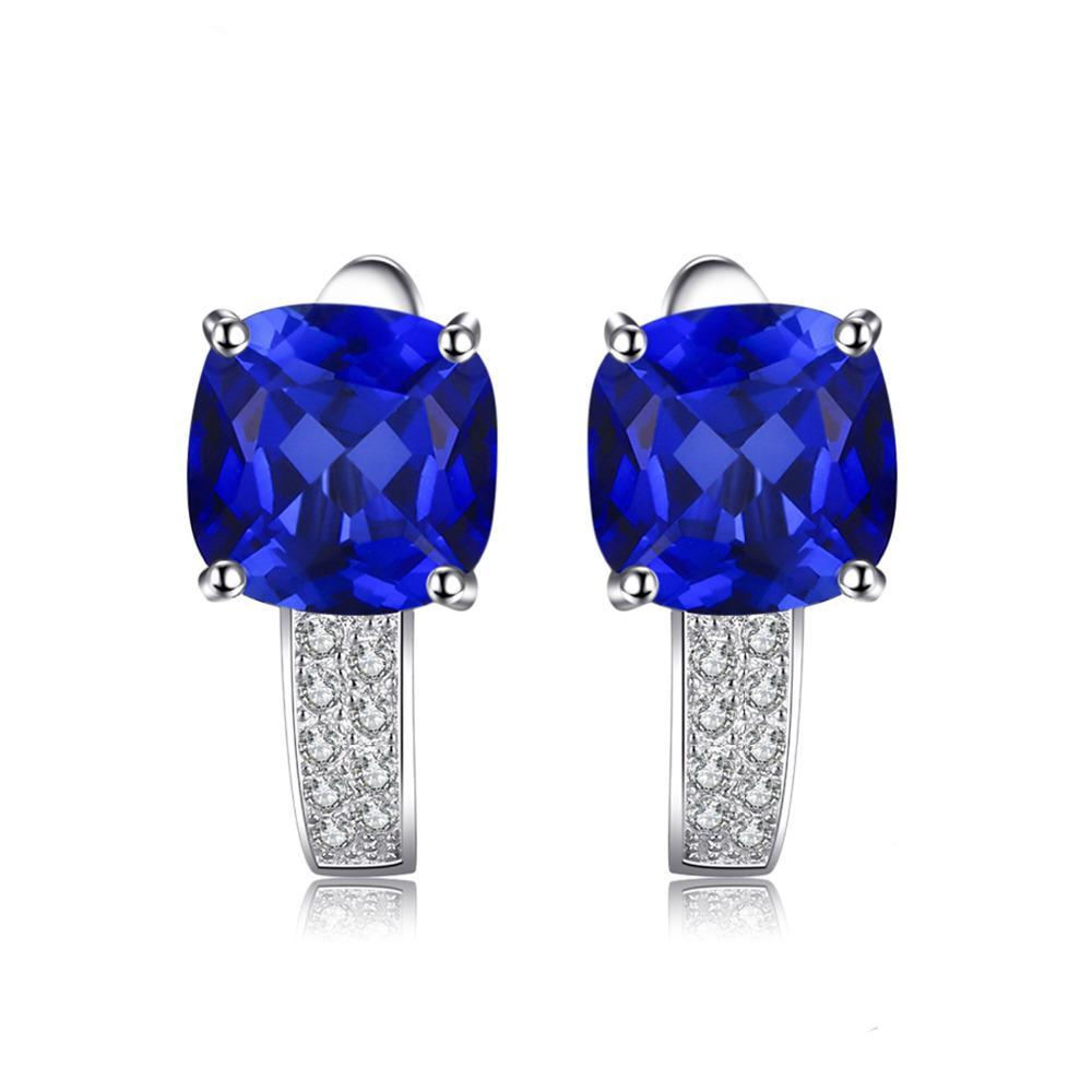 Sterling Silver with 4.6ct Created Blue Sapphire Clip Earrings 1172