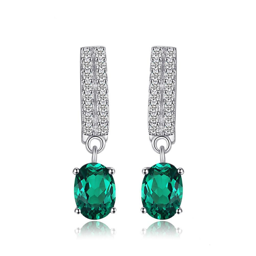 Sterling Silver with 1.7ct Oval Nano Russian Simulated Emerald Clip Earrings 1155