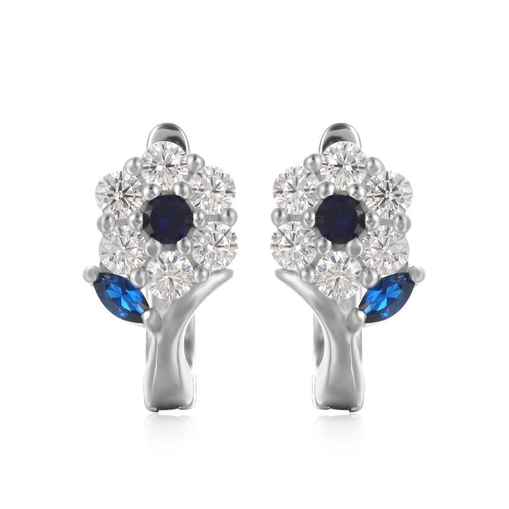Sterling Silver Earrings with 0.71 ct Created Blue Spinel 1119