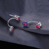 Sterling Silver Earrings with 2.6ct Created Red Ruby 1125