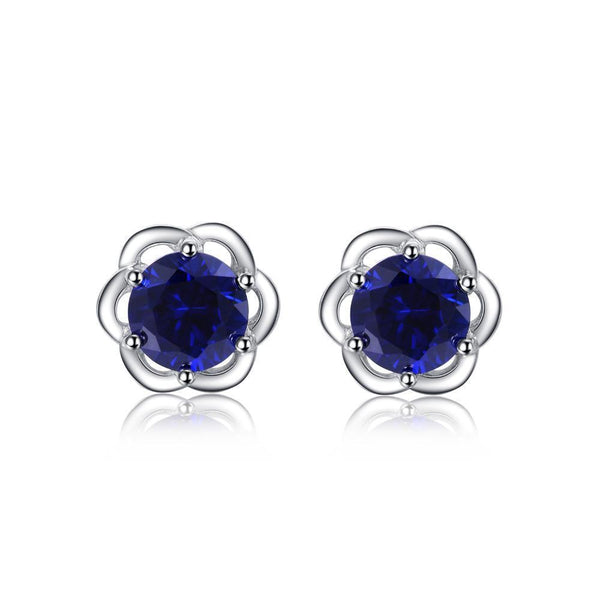 Sterling Silver Earrings with Rose Flower with 2.35ct Round Created Sapphire 1133