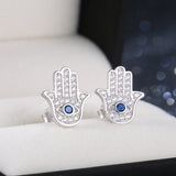 Sterling Silver Blue Evil Eye Hamza Hand Stud Earrings 1327