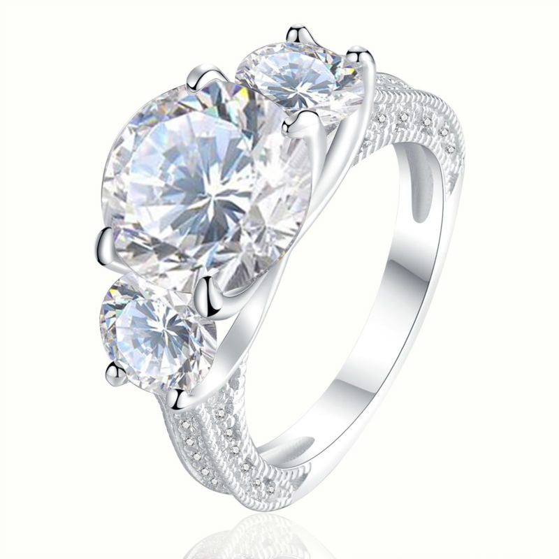 Stunning Big 4 Ct Round AAA CZ Ring Set on Sterling Silver 1188