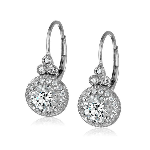 2.8 Carats Round Cut CZ on Sterling Silver Earrings 1015