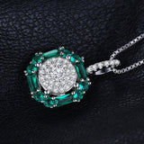 0.9ct Created Nano Russian Emerald Pendant on Sterling Silver 1213