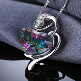 8ct Rainbow Topaz Heart Pendant on Sterling Silver 1246