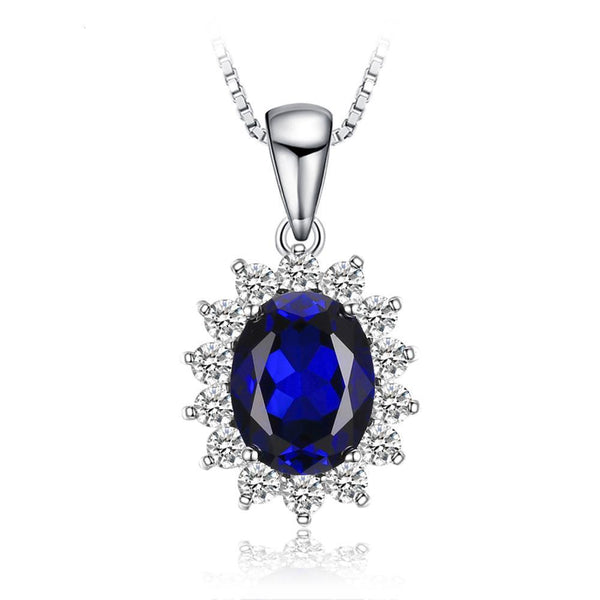 3.2ct Princess Diana William Pendant Blue Sapphire Pendant on Sterling Silver 1249