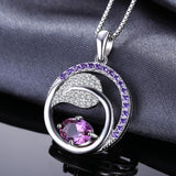 1.4ct Created Alexandrite Sapphire Cubic Zirconia Pendant with Sterling Silver 1242