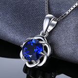 1.87ct Round Created Blue Sapphire Pendant on Sterling Silver 1255