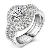 2 Ct AAA CZ 3 Pcs Sterling Silver Ring with Bands 1009