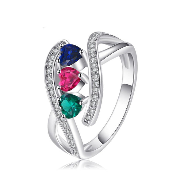 1.0ct Created Ruby Created Sapphire Simulated Emerald  Ring on Sterling Silver 1198