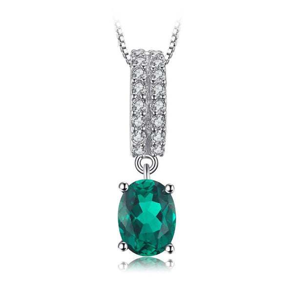 1.4ct Oval Russian Simulated Emerald Pendant on Sterling Silver 1221