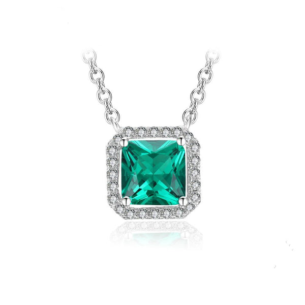 1.2ct Emerald on Sterling Silver Necklace 1258