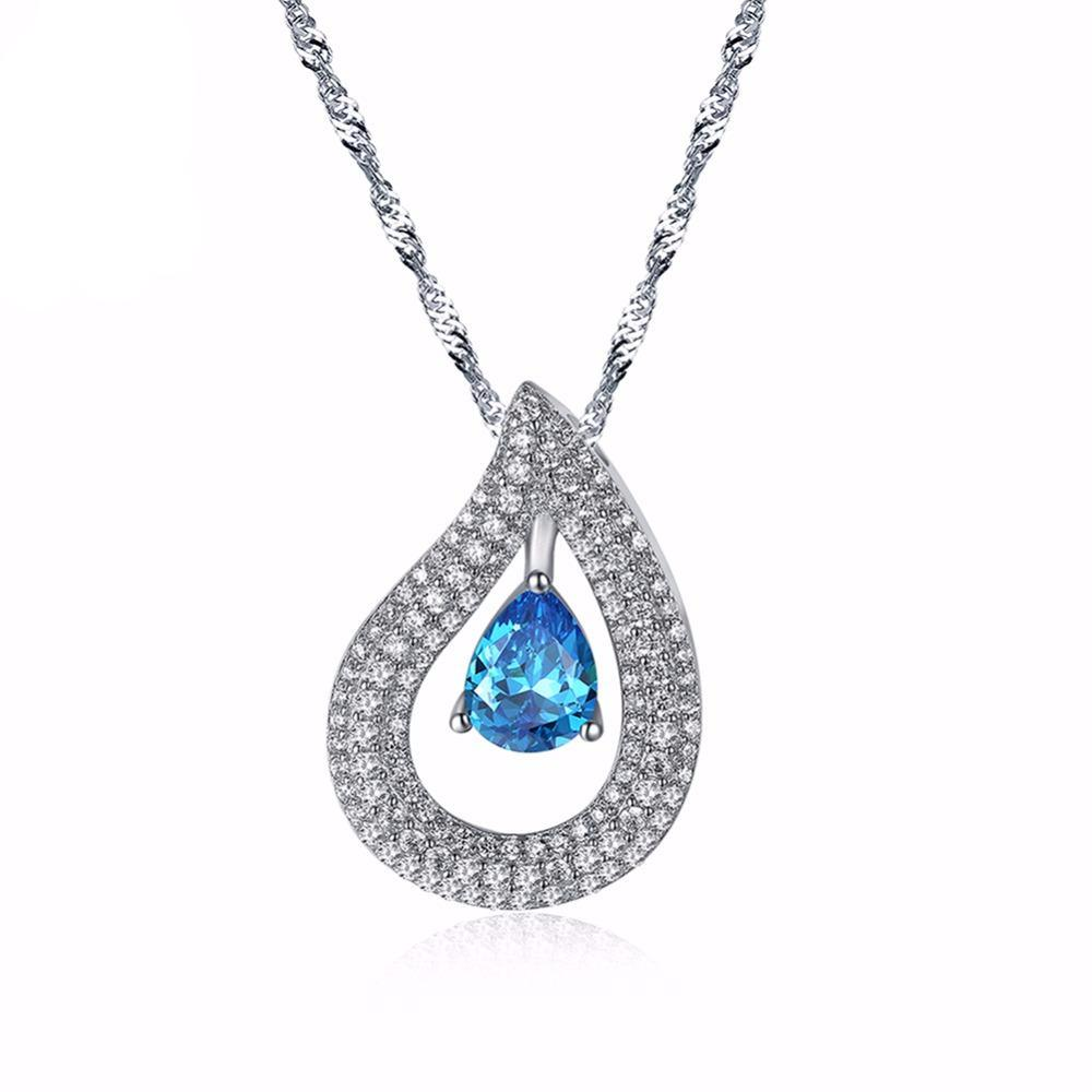Water Drop Big Blue Cubic Zircon Pendant Necklace 1597