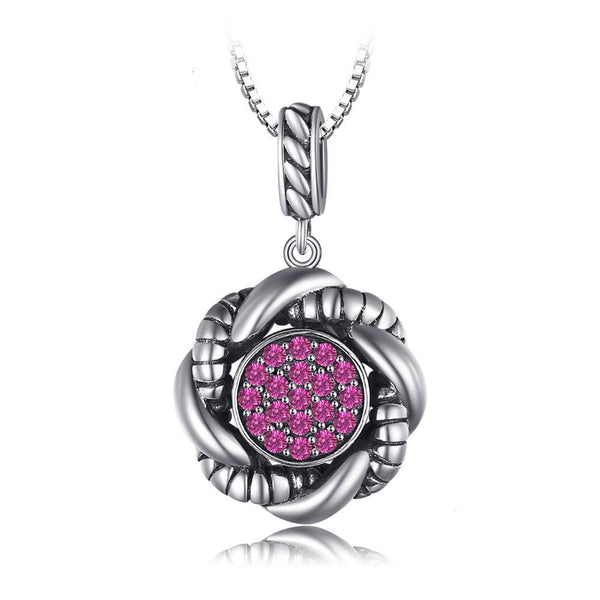 0.4ct Round Created Ruby Pave Pendant with Sterling Silver 1261