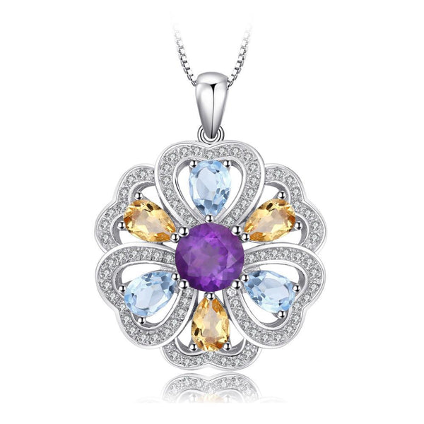 4ct Genuine Amethyst Citrine Blue Topaz White Topaz Pendant with Sterling Silver and a45cm Chain 1236