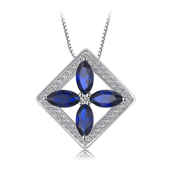 4.5ct Created Blue Spinel Pendant on Sterling Silver 1228