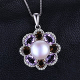 9mm Cultured Pearl 2.6ct Smoky Quartz Amethyst Pendant on Sterling Silver 1247