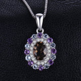 1.4 ct Smoky Quartz and Sky Blue Topaz Amethyst Pendant with Sterling Silver chain 1263