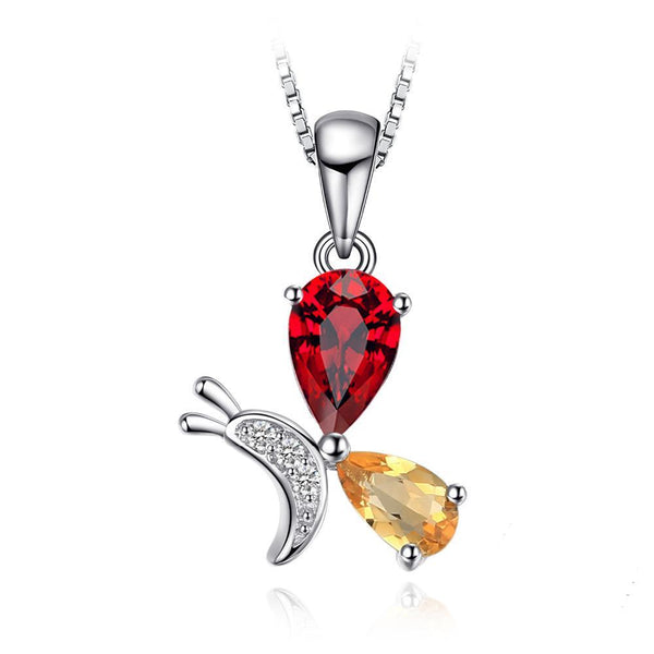 1.07ct Genuine Garnet Citrine Pendant on Sterling Silver 1223
