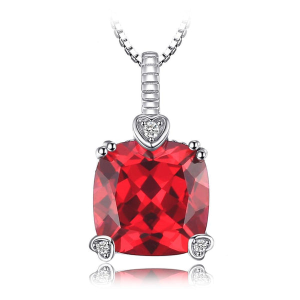 4.7ct Square Created Ruby Pendant on Sterling Silver 45 cm Box Chain 1221
