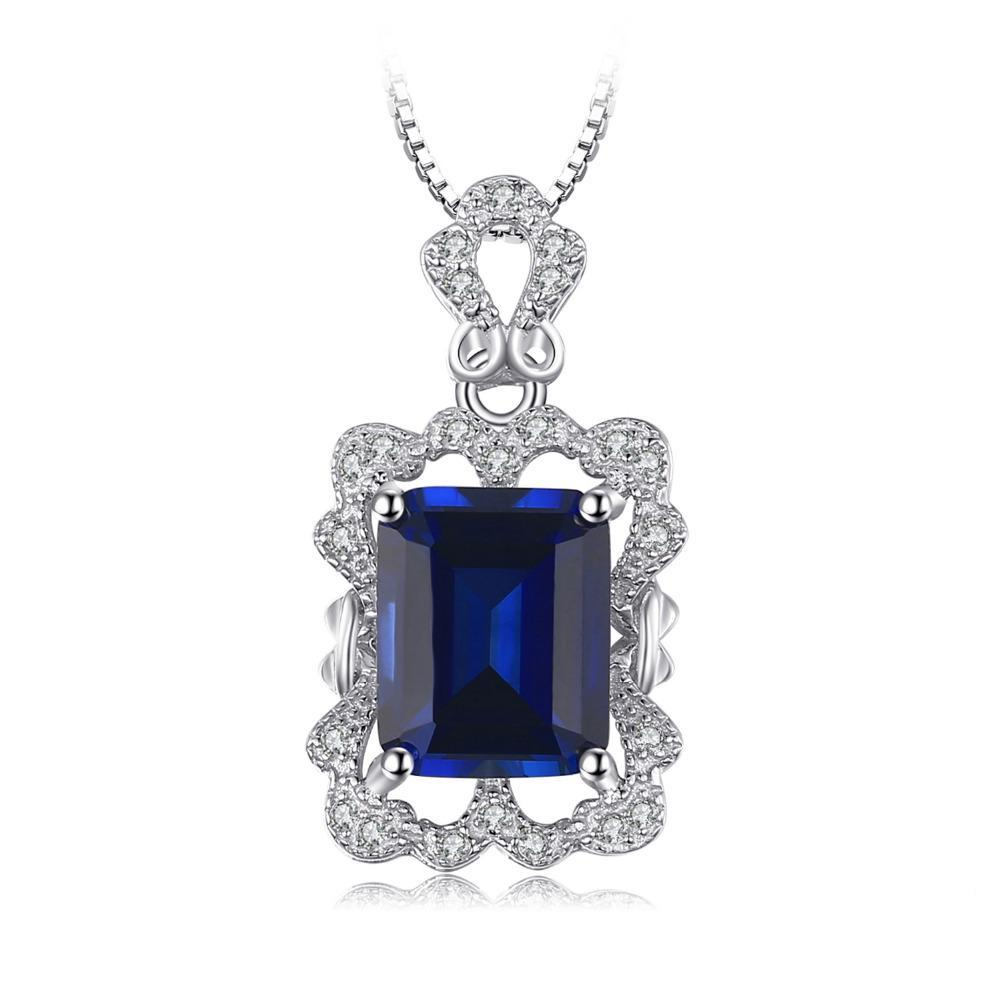 4.3ct Created Sapphire Pendant with Sterling Silver 1241