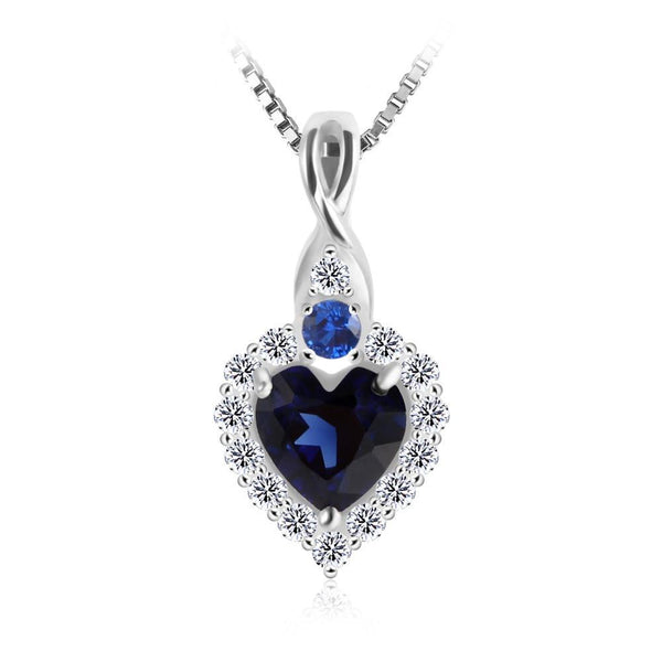 0.9ct Created Sapphire Pendant on Sterling Silver 1230
