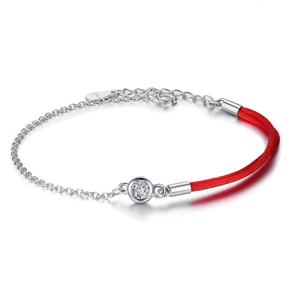 Red Thread and Sterling Silver Bracelet 1351