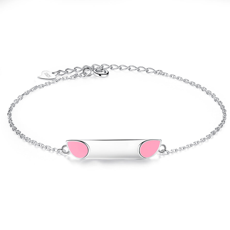 Cat Ear Bracelet Free Engrave on Sterling Silver 1350