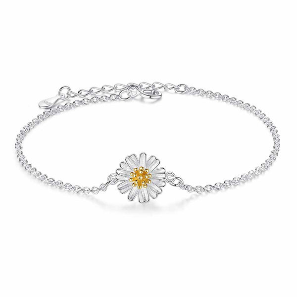 Sterling Silver Link Chain Daisy Charm Bracelet 1275
