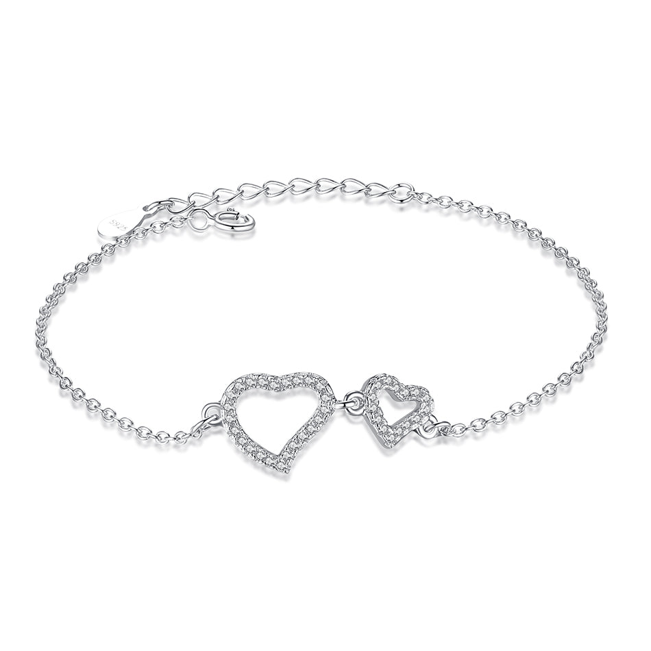 Sterling Silver Two Hearts Bracelet 1311