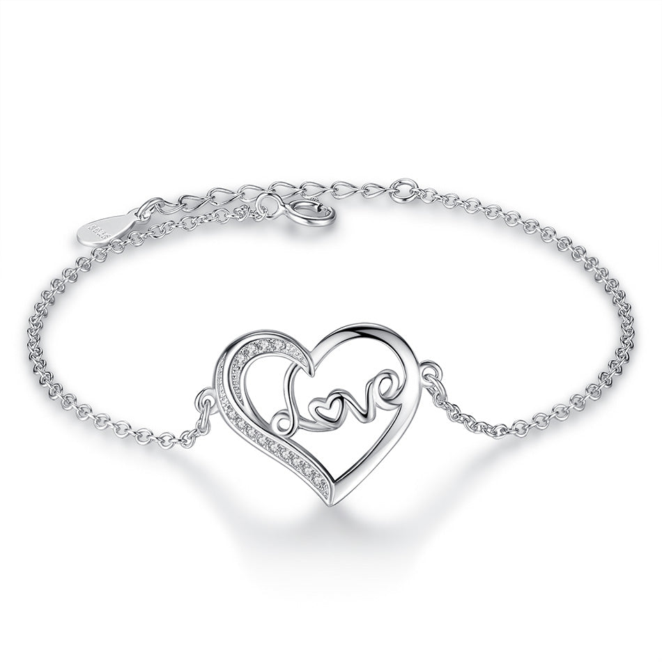 Sterling Silver 'LOVE' Heart Bracelet 1306