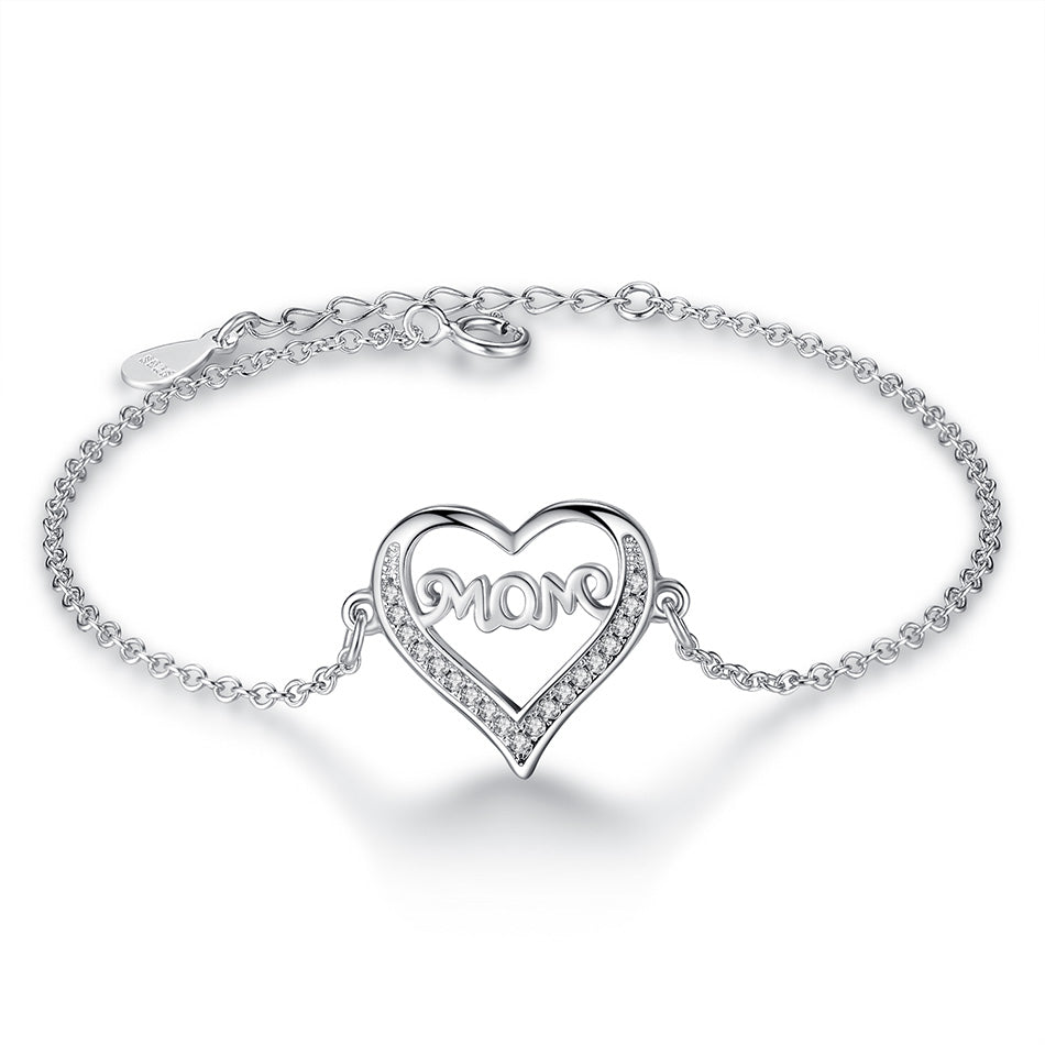 Sterling Silver 'Mom' Heart Charm Bracelet with Cubic Zirconia & Crystal 1307